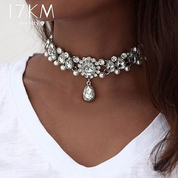 17KM Collar Crystal Choker Necklace &pendant for Women