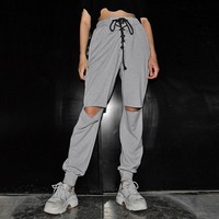 Hole Pants Elastic Ankle Ripped Sweatpants Joggers Women Clothes Knee Cut Destroyed Street Wear Trousers Lace Up High Waist Gray