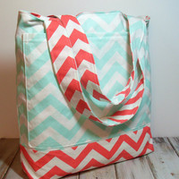Mint and Coral Chevron Beach Bag, Bridesmaid Tote Bag
