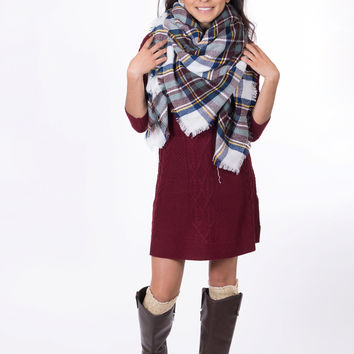 Perfect For Fall Oversized Plaid Blanket Scarf (Brown)