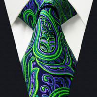 Q18 Paisley Green Purple Black Mens Necktie Ties 100% Silk Jacquard Woven  Brand