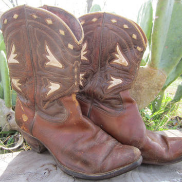 50's/60's Acme Cowboy Boots in Brown Leather, 9,5 D / 43 / 9 // Inlay Leather Boots