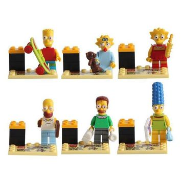 6pcs Simpsons Family Marge Bart Lisa Maggie Cartoon Movie DIY Building Block Compatible With Toy Christmas Gift