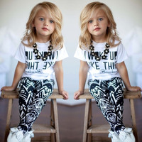 Baby Girls Kids Clothes Toddler Short Sleeves T-Shirt + Pants 2Pcs Outfits Sets