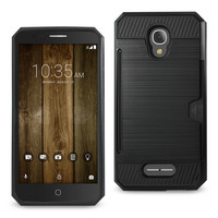 Reiko REIKO ALCATEL FIERCE 4 SLIM ARMOR HYBRID CASE WITH CARD HOLDER IN BLACK