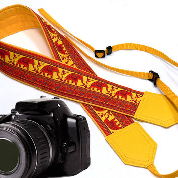 Yellow DSLR / SLR Camera Strap. Lucky elephant Camera Strap. Camera accessories. For Sony, canon, nikon, panasonic, fuji and other cameras.