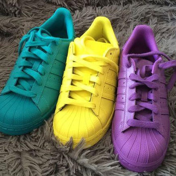 "Fashion ""Adidas"" Shell-toe Flats Sneakers Sport Shell-toe Pure color Shoes (7-Color)"