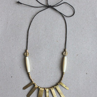 ASTRA necklace ( Brass and vintage bone )