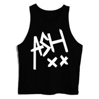 New T-shirt-00 ASH XX 5 Seconds of Summer Ashton Irwin Unisex Tank Top Vest Sleeveless Tee (X-Large, BLACK)