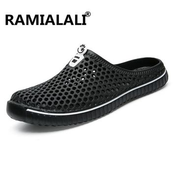 Ramialali  New Summer Sandals Men Mesh Shoes Mules Clogs Breathable Beach Slippers Male Water Hollow Aqua Wading Chaussure Homme