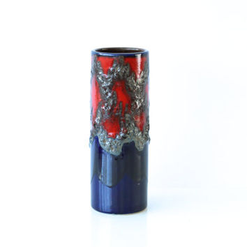 WEST GERMAN POTTERY Cylinder Vase, Scheurich 203-26, Retro Modern, Fat Lava, Red, Blue, Black, Made in Germany