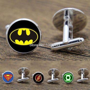 Superhero Justice League Batman The Flash Green Lantern cuff links sleeve button cuff links for men