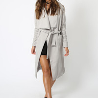 New York Minute Coat Knee Grazer – GREY