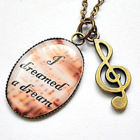 Les Miserables: I Dreamed A Dream song lyrics with treble G clef charm necklace (new design)