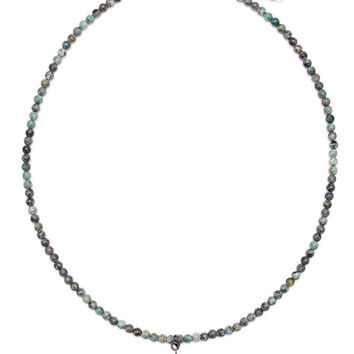 Gold & Gray | African Turquoise Diamond Mini Spike Necklace