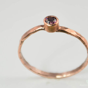 Thin Copper Alexandrite Ring, Hammered Copper, Stackable Rings, Mother's Ring,  June Birthstone Ring, Copper Jewelry, June Birthday Ring