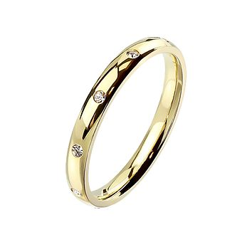 Gold Forever - Women's 10 CZ Flush Set Gold IP Stainless Steel Dome Ring