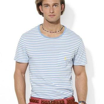 Polo Ralph Lauren Medium-Fit Short-Sleeved Striped Jersey Pocket Crewneck
