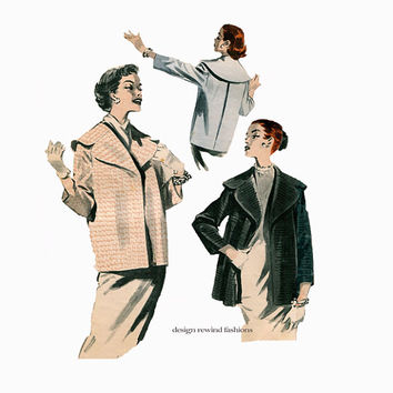 1950s WOMENS JACKET PATTERN Coat Pattern Inverted Pleat Back Wide Collar Coats Jackets Butterick 8092 Vintage Womens Sewing Patterns Bust 36