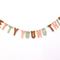 Pretty Young Thing felt party banner, room banner, housewarming banner in dreamsicle, mint and texas orange