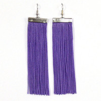 Fringe Earrings. Long Earrings. Dangle Purple Earrings.