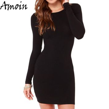 Amoin Cute Women Fashion Little Black Dress New 2017 Autumn Winter Sexy Casual Vestidos Long Sleeve Bodycon Short Office Dress