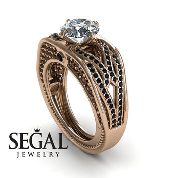 Engagement ring Diamond ring 14K Red Gold Vintage Antique Ring White diamond With Black Diamond - Bailey