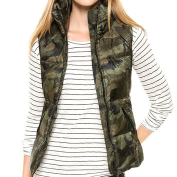 Camouflage Print Padded Vest