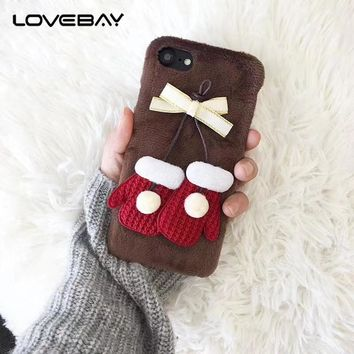 Lovebay Phone Case For iPhone 6 6s 7 8 Plus Fashion 3D Cute Cartoon Fuzzy Christmas Gloves Hard PC For iPhone 7 Phone Case Coque