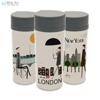 Personalized BPA Free Plastic Insulated Drinkware Modern Hipster City Life Paris New York Wide Mouth 300ml Water Bottles Gifts