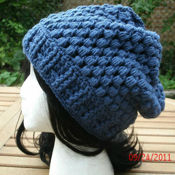 Hand Crochet Hat - The Puff Slouch in Denim - Crochet Hat