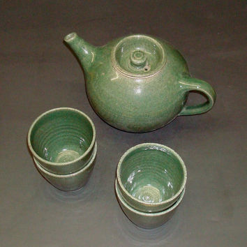 Tea set with 4 cups, green handmade tea set, stoneware, food and microwave safe