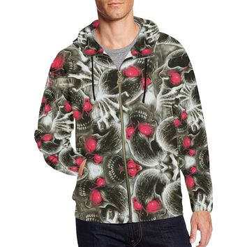 Red Eye Skulls Men's All Over Print Full Zip Hoodie
