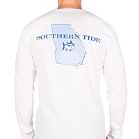 Georgia Long Sleeve State Tee Shirt in White by Southern Tide