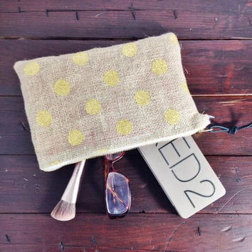 Gold Polka Dot Burlap Zipper Pouch, Makeup Bag, Purse