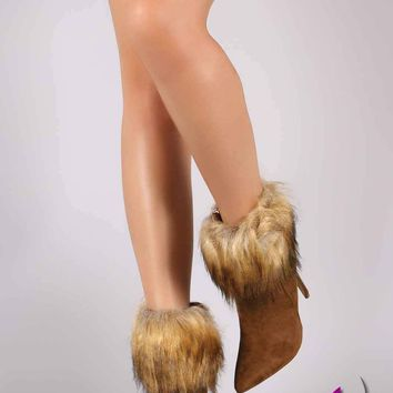Liliana Faux Fur Cuff Pointy Toe Stiletto Ankle Booties