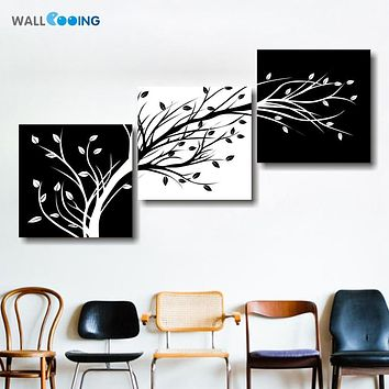 wall cooing 3 panel black and white canvas painting living room wall poster frames in modular print cuadros decoracion pictures