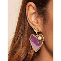 1pair Faux Pearl Decor Heart Drop Earrings
