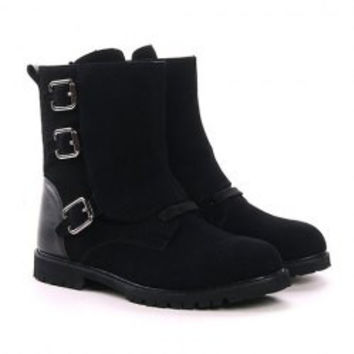 British Style Men's Boots With Buckles and Splice Design