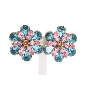 Dolce & Gabbana Gold Brass Floral Crystal Large Clip On Earrings