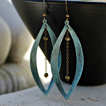 Summer Sale 20% Off - Large Aqua Bohemian Chandelier Earrings - Antique Brass, Patina, Turquoise, Rustic