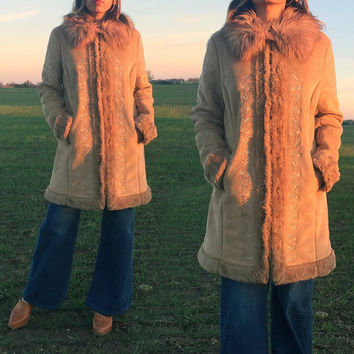 Vintage 1970's EMBROIDERED Shaggy Afghan Faux Fur Coat | Tan Brown | Vegan |Almost Famous Penny Lane Boho Hippie Jacket || Size Medium Large