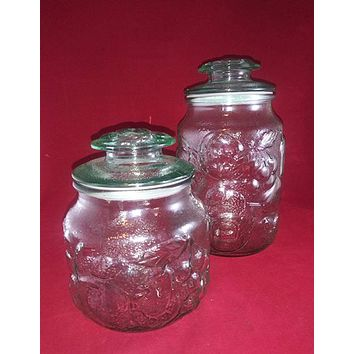 Libbey Rock Sharpe Orchard Glass Canisters/Storage Jars