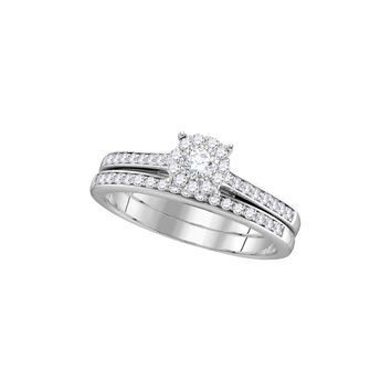 14kt White Gold Womens Round Diamond Slender Halo Bridal Wedding Engagement Ring Band Set 1/2 Cttw 111738