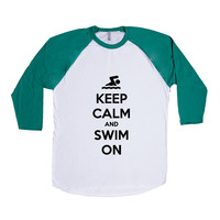 Keep Calm And Swim On Swimming Swimmer Pool Beach Sport Sports Sporty Gym Exercise Exercising Fitness SGAL7 Baseball Longsleeve Tee