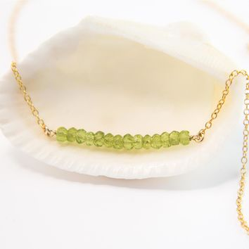 Natural Peridot Gemstone Bar Necklace, August Birthstone Layering Necklace
