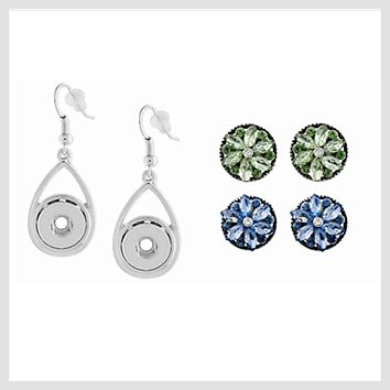 Drop Earrings Set 12 mm 2 Pairs Snaps (SET-2)