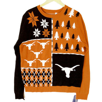 UT University of Texas Longhorns Busy Block Tacky Ugly Christmas Sweater