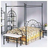 Acme Sunburst Queen Headboard and Footboard & Canopy (Rail Not Included), Sandy Black