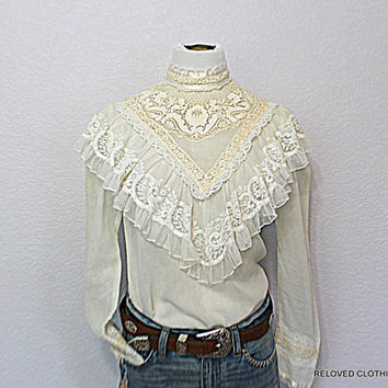 Vintage Gunne Sax Jessica McClintock Sheer Fabric and Lace Top Retro 1970's Women's Romantic Shirt